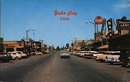 View of Downtown and Cars Yuba City, California Original Vintage ()