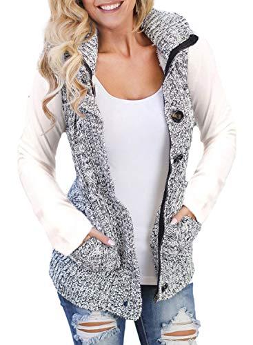Sidefeel Women Hooded Sweater Vest Knit Cardigan Outerwear Coat Large Grey