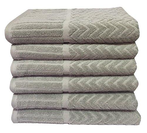 Metro 100% Cotton 6-piece Chevron Bath Towel Set (Sage) (Tree Farm Christmas Hunters)