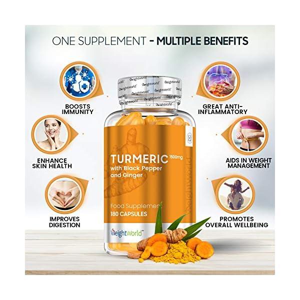 CURCUMA E PIPERINA + ZENZERO BIOLOGICI – 365 Capsule Forti Vegan (1 Anno di Fornitura) – Antinfiammatorio Naturale e…