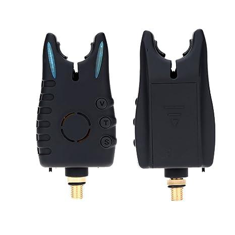 Docooler Conjunto de Alarma Pescar LED 4 Alarma de Mordedura + 1 Receptor en Funda Cremallera Alerta de Pesca Inalámbrica Digital