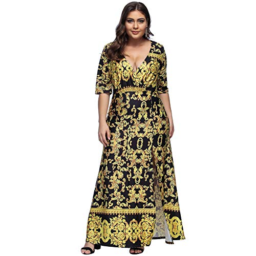 Baroque Print Dress (CINDYLOVER Women's Dress Baroque Print Short Sleeve Plus Size Casual Maxi Dress Black XL)