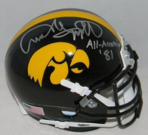 - Autographed Andre Tippett Signed Iowa Hawkeyes Mini Helmet - JSA Certified