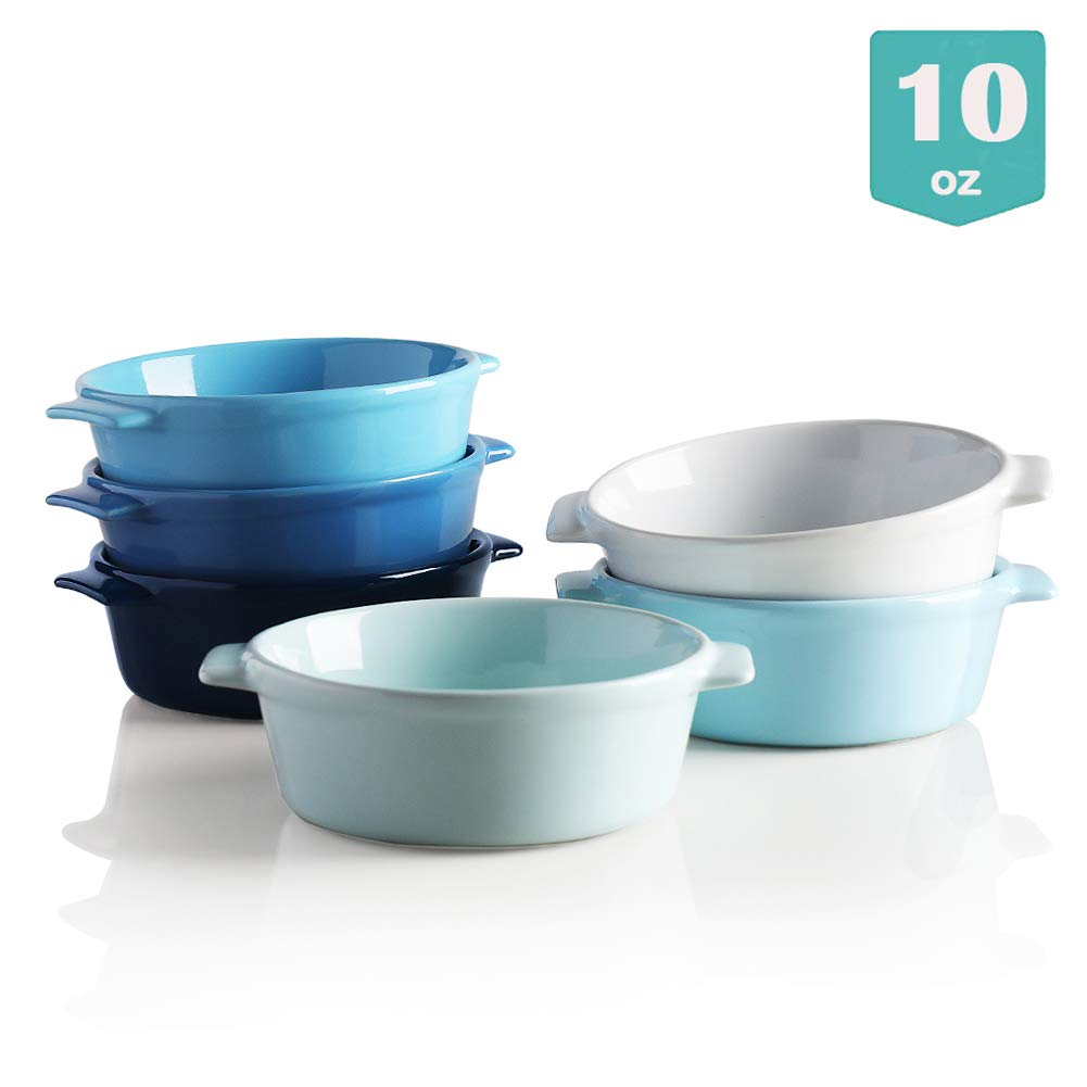 Sweejar Ceramic Souffle, Round Double Handle Ramekins, 10oz Creme Brulee, Custard Cheese and Dipping Sauce, Set of 6