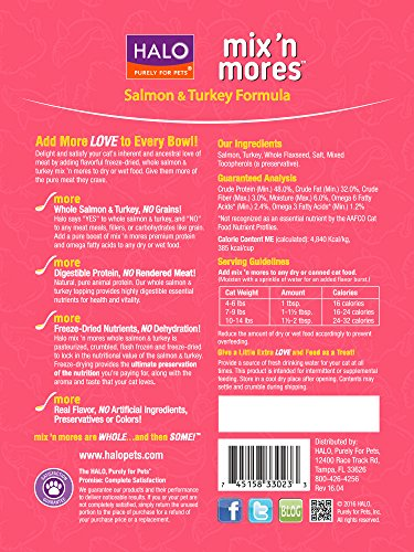 Halo-Mix-n-Mores-Holistic-Freeze-Dried-Meal-Enhancers-Salmon-and-Turkey-6-OZ-of-Cat-Food-Toppers
