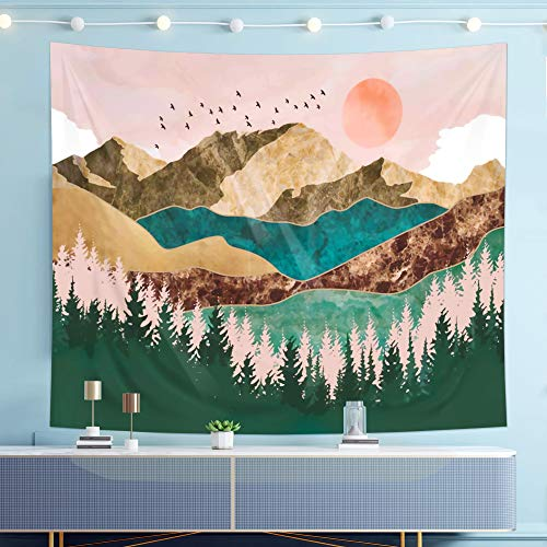 Forest Tapestry Wall Tapestry Mountain Sunset Tapestry Wall Hanging Nature Tapestry for Bedroom College Room Décor (51.2\