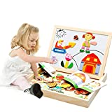 BXT Children's Wooden Magnetic Jigsaw Puzzle Game Toys Magnetic Stick Characters Scenery Puzzle Double Side Black and White Board Educational Toy Birthday Christmas Gift for Kids Toddlers Over 3 Years Old-Human Set
