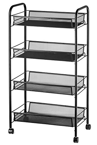 "Four Shelves Storage (Halter 4-Tier Rolling Basket Stand, Full Metal Rolling Trolley for Kitchen & Bathroom - Four Tier Storage Cart w/Shelves & Wheels - 33"" X 17.25"" – Black)"