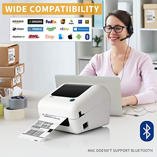 Bluetooth Thermal Shipping Label Printer - High Speed 4x6 Support PC, Mobile, USB for MAC, Compatible with Ebay, Amazon, Shopify, Etsy, USPS Barcode