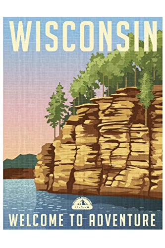 - Wisconsin Welcome to Adventure Retro Travel Art Poster 12x18 inch