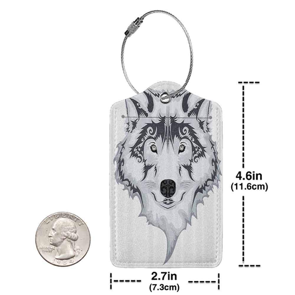 Modern luggage tag Tattoo Decor Astonishing Big Cat Famous Symbol of the Courage Leopard Head with Spots Suitable for children and adults White and Black W2.7 x L4.6