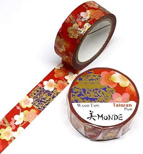Kamiiso – Monde Masking Tape – Washi Tape (15mm) Foil Stamping – Taiwanese Plum Flower & Cloisonne – for Scrapbooking Art Craft DIY