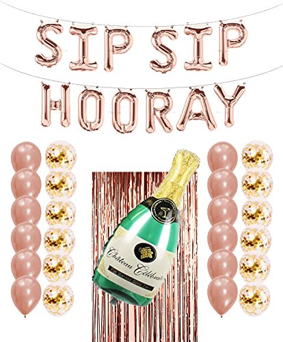 Rose Gold Party Decorations (Champagne) | SIP SIP Hooray Party Balloons Banner, foil Curtain Decoration, Champagne Bottle Balloon, Confetti Balloons; Rose Gold Decorations