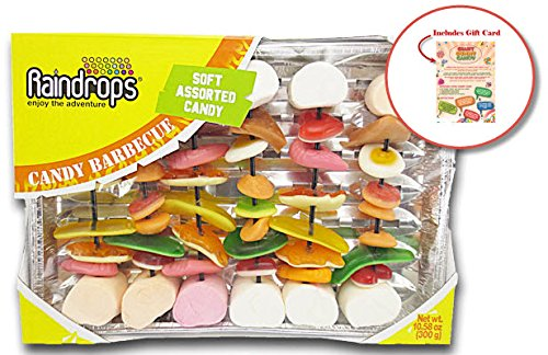 Giant Gummy Candy Barbecue Kabobs (10.58oz) by Raindrop – Includes Custom Gift (Custom Candy Bar)