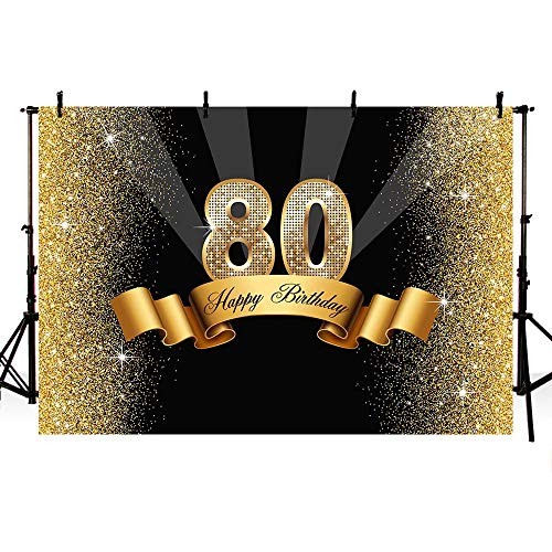MEHOFOTO Glitter Gold and Black Photo Studio Booth Background Adult Happy 80th Birthday Party Decorations Banner Backdrops for Photography 8x6ft