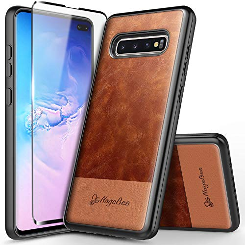 Galaxy S10+ Plus Case with Full Coverage Screen Protector 3D PET, NageBee Premium [Cowhide Leather] Shockproof Dual Layer Armor Hybrid Rugged Durable Case for Samsung Galaxy S10+/S10 Plus -Brown