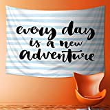 SOCOMIMI Home Decor Tapestry by Every Day is a New Adventure Calligraphy Text Watercolor Stripes Print Light Blue Wall Hanging for Bedroom Living Room Dorm