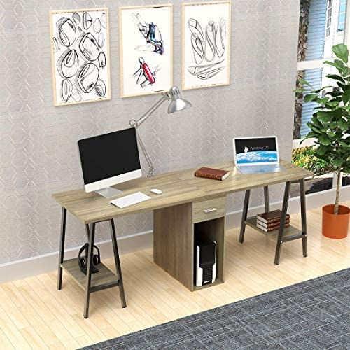 DEWEL Two Person Desk Dual Desk with Drawer 78 Double Side Desk Workstation Long Executive Computer Office Desk Writing Table with Storage Shelves for Home Office