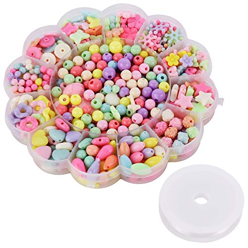 Beautyflier 1 Box 450 Pcs Acrylic Beads Set for Kid's Jewelry Making, Children DIY Colorful Bead Crafts Gift Kit Girl's Bead Necklace and Bracelet Crafts (Flower Beads kit)