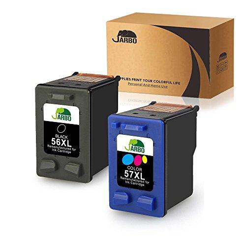 JARBO Manufactured Ink Cartridge for HP 56 57 56XL 57XL, 1 Black+1 Tri-Color, Used with HP Deskjet 5150 5550 5650 5850 Photosmart 7260 7350 7450 7550 7660 7760 7960 Officejet 4215 PSC 1210 Printer