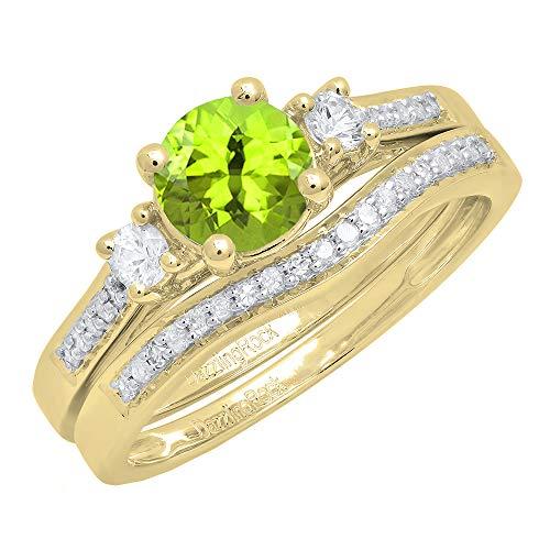 Dazzlingrock Collection 10K 6 MM Round Peridot, White Sapphire & Diamond Ladies 3 Stone Ring Set, Yellow Gold, Size 8 ()