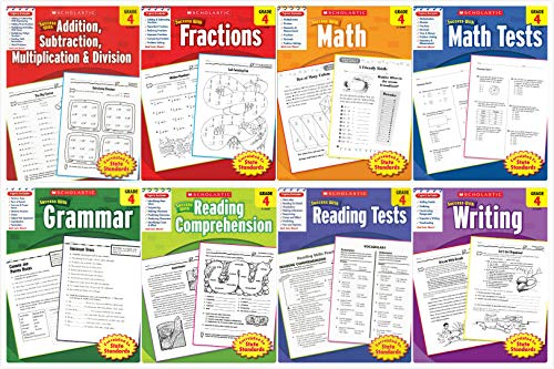 Scholastic Success With - Grade 4 Complete Set (8 books): Addition&Subtraction&Multiplication&Division 4, Fractions 4, Math 4, Math Tests 4, Grammar 4, Reading Comprehension 4, Reading Tests 4 and Wri ()