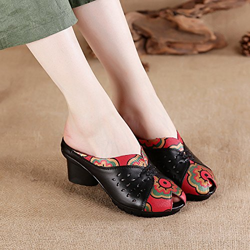 Aged Comfortably Summer Leather Fish Cold Leather Mothers Drag Middle And Old Mouth Sandals Antique Thirty Slippers Women'S With Black Six Shoes KPHY Ewx4qaEP