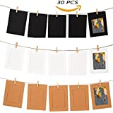 """GooGou DIY Paper Photo Frame Wall Deco with Mini Clothespins and String Fits 4""""x 6"""" Pictures For College,Home,Dorm Room,Office(30 pcs)"""