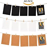 GooGou DIY Paper Photo Frame Wall Deco with Mini Clothespins and String Fits 4'x 6' Pictures For College,Home,Dorm Room,Office(30 pcs)