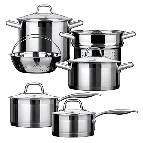 Duxtop Professional Stainless Steel Induction Cookware Set Impact-bonded Technology 10-pc Set by Duxtop