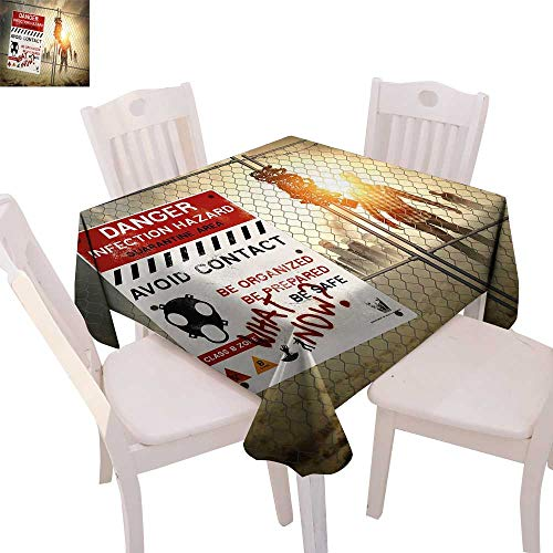Zombie Decor Dinner Picnic Table Cloth Dead Man Walking Dark Danger Scary Scene Fiction Halloween Infection Picture Waterproof Table Cover for Kitchen 54