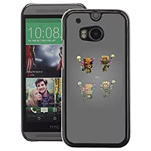 A-type Arte & diseño plástico duro Fundas Cover Cubre Hard Case Cover para HTC One M8 (Totem Game Console Grey Character)