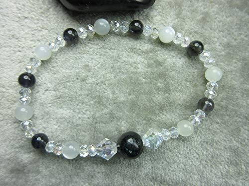 Genuine Arfvedsonite, White Moonstone and Iolite Healing Bracelet ()