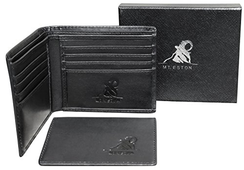 Mt. Eston RFID Blocking Mens Leather Wallet with Removable ID Holder Card Case, 17 Pocket Extra Capacity, High-End Build, Gift Box for (Removable Id Billfold)