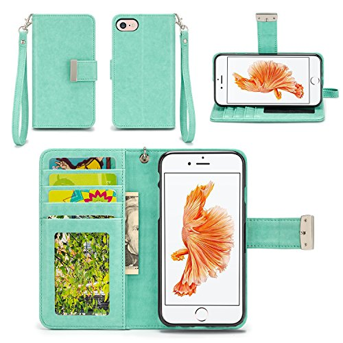 iPhone 7 Case - IZENGATE [Classic Series] Wallet Cover PU Leather Flip Folio with Stand (Mint)