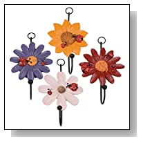 HAIMI Resin and Cast Iron Branch Wall Hook Flowers Wall Mounted Decorative Hanger with 4 Coat Hooks For Coats Purses Hats Clothes Towels and More With Screws And Anchors