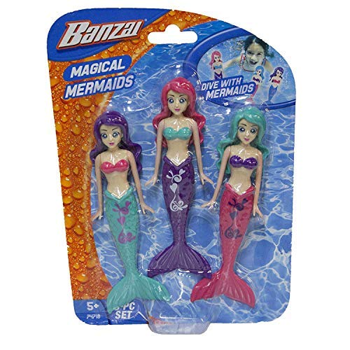 Fun Stuff Banzai Spring and Summer 3 Piece Magical Mermaid Dolls, in Assorted Colors (2 Pack) by Fun Stuff