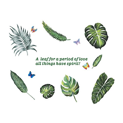 AWAKINK Cartoon Butterflies Green Plants Leaves Fern Leaves Pastoral Style Wall Stickers Wall Decal Vinyl Removable Art Wall Decals for Bedroom Living Room Nursery Room Childrens Bedroom