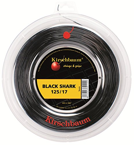Kirschbaum Reel Black Shark Tennis String, 1.25mm/17-Gauge, Black