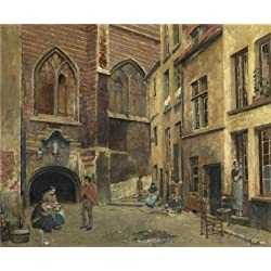 Oil Painting 'Piet Verhaert,The Old Antwerp Butcher Hall,1852-1908', 16 x 19 inch / 41 x 49 cm , on High Definition HD canvas prints is for Gifts And Dining Room, Game Room And Home Office Decoration