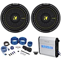 (2) Kicker 44CWCD104 CompC 10 1000W Car Subwoofers+Hifonics Amplifier+Amp Kit