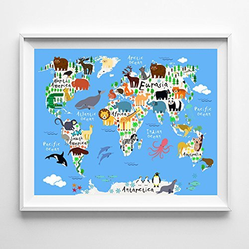 Amazon animal world map type 4 baby nursery room decor wall art animal world map type 4 baby nursery room decor wall art poster unframed gumiabroncs Gallery