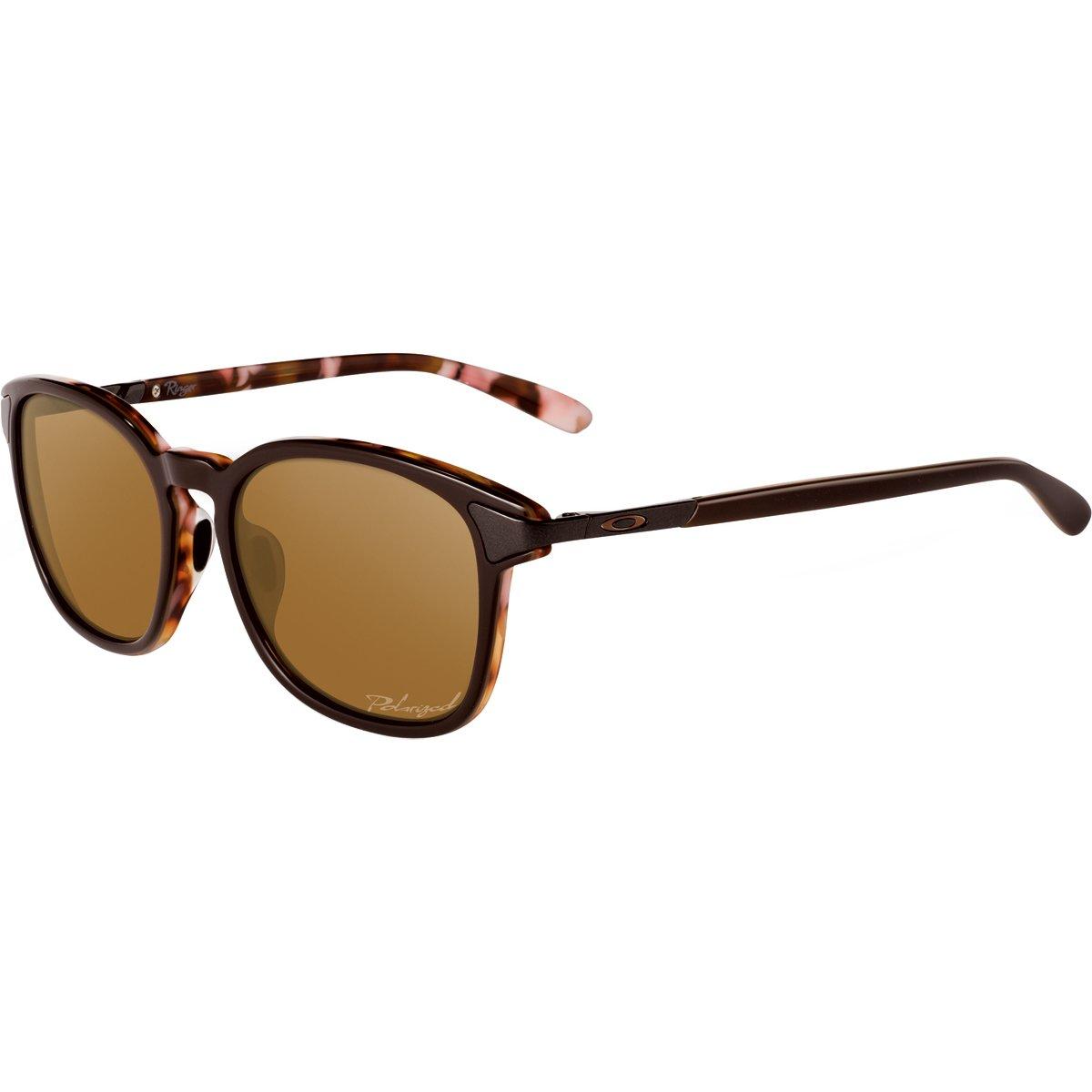 Oakley Women's OO2047 Ringer Round Sunglasses, Brown Mosaic/Bronze Polarized, 54 mm by Oakley