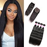 Unprocessed Virgin Human Hair Weave--8a Malaysian Straight Human Hair Bundles --95-100g/bundle,Double Machined Weft,Tight and Neat--High elasticity & Bouncy,Shedding&Tangle Free--Thick and Healthy Ends,No Split Hair--Natural Color,can...