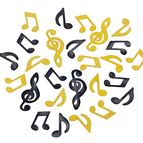 Tim&Lin Glitter Gold and Black Music Note Paper Confetti Table Confetti, Great for Party Decoration and Table Decoration, Pack of 100 (Glitter Gold and ()