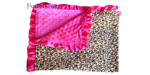 Soft and Cozy Large Minky blanket - Leopard with Satin Trim