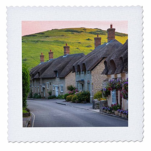 Danita Delimont - Houses - Evening view of thatch roof cottages in West Lulworth, England - 12x12 inch quilt square - Thatch House