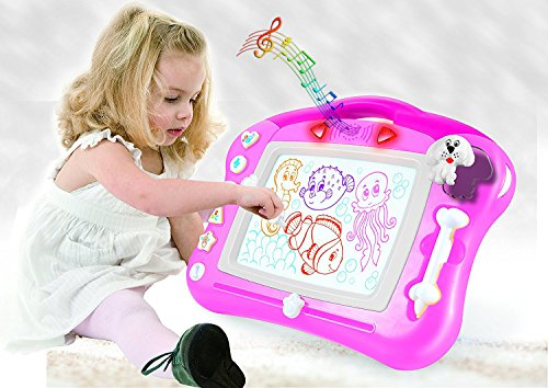 Magnetic Drawing Board for Kids - 4 Color Zone Erasable Magna Doodle Pad for Educational Sketching – Great Gift for Boys and Girls 3+ - Pink with -