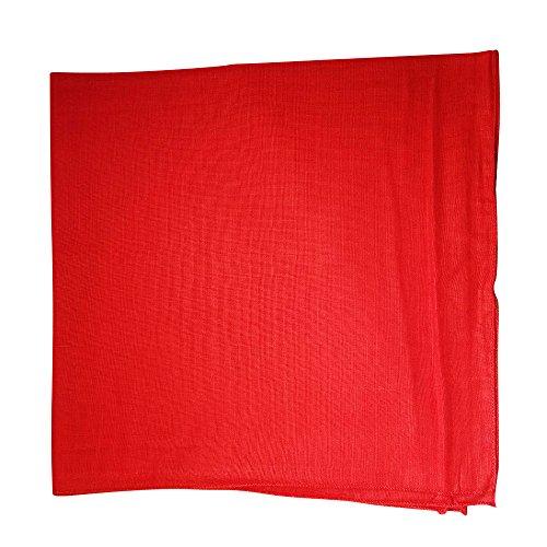One Dozen Solid Plain Colors 100% Cotton Bandana - 12 Pack by M.H.I. ( 14 Colors) (Red)