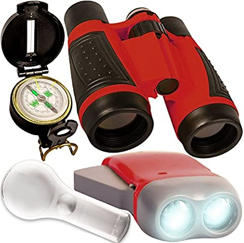 Kids gift - Outdoor discovery set - compact folding binoculars , hand chargable LED flashlight , spy glass , compass . For childrens bird watching , pretend play - Educational outdoors toy for (Folding Binoculars Kids)